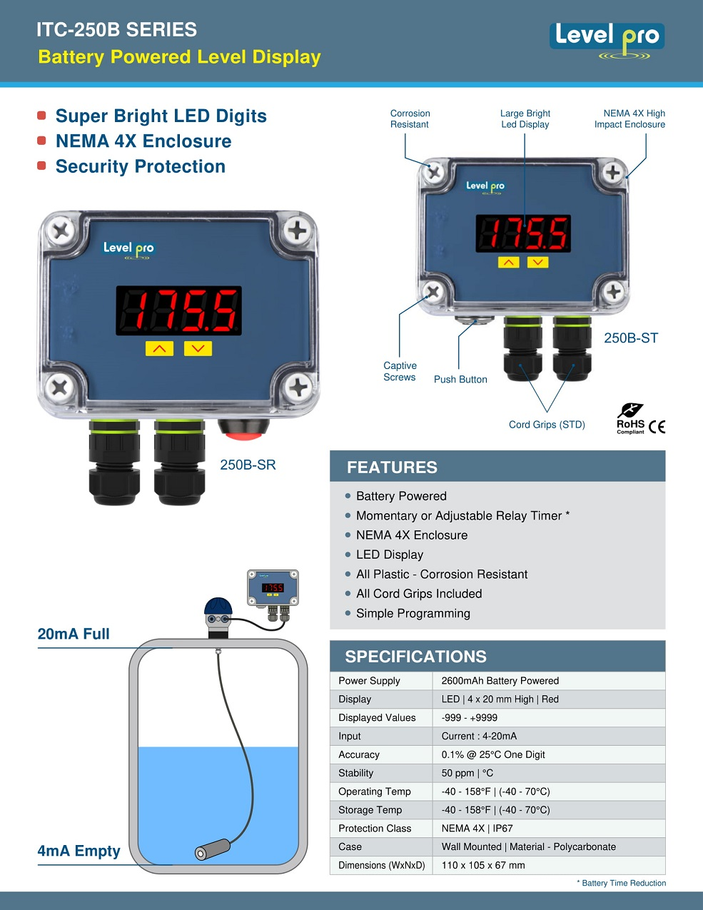 ITC250-B Battery Operated Tank Level Display
