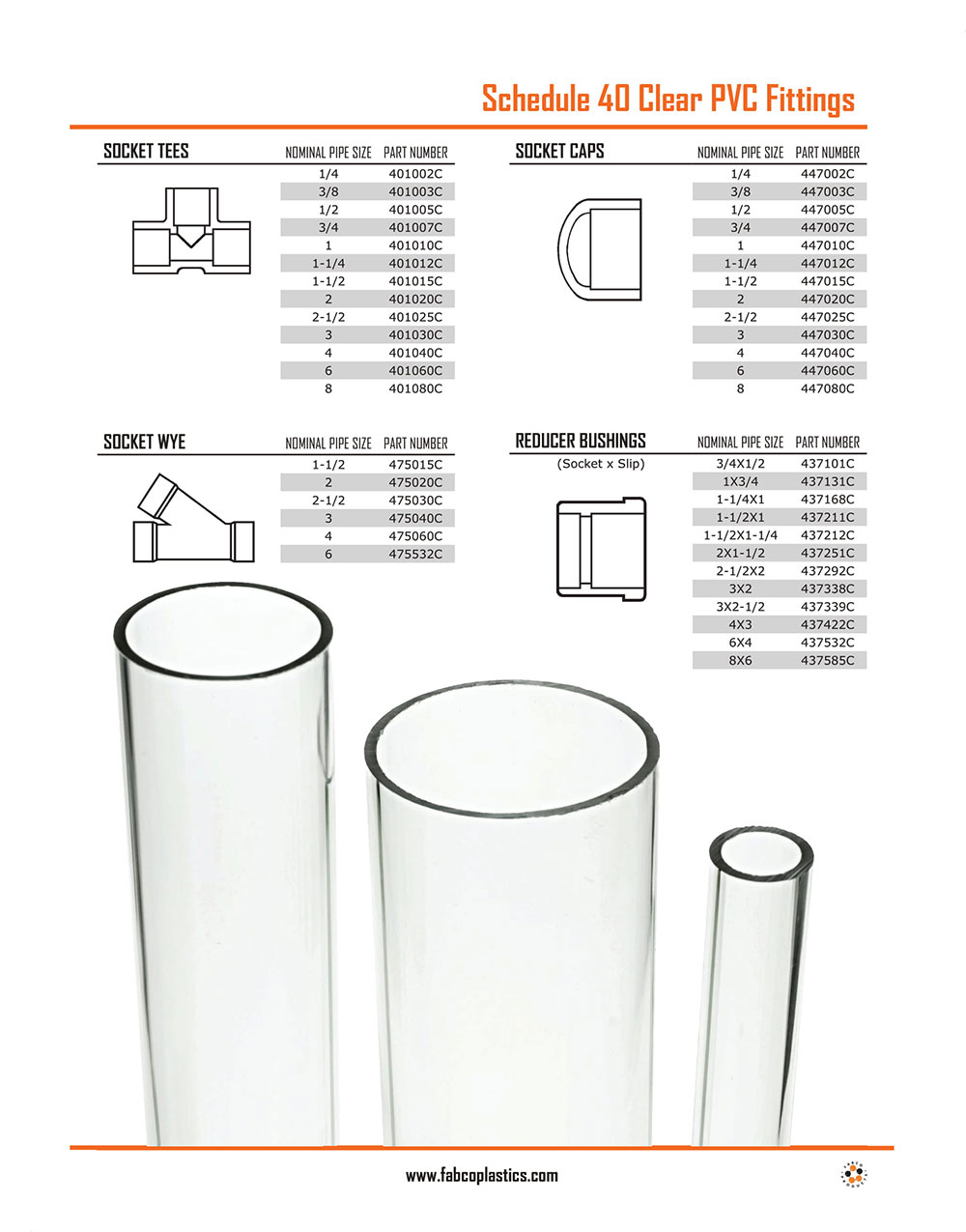 Schedule 40 Clear PVC Fittings