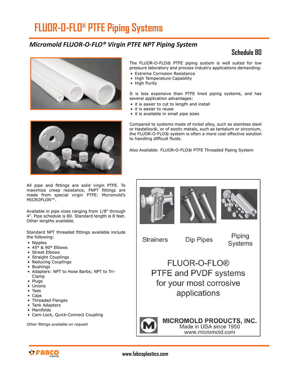 Micromold PTFE Piping and Accessories