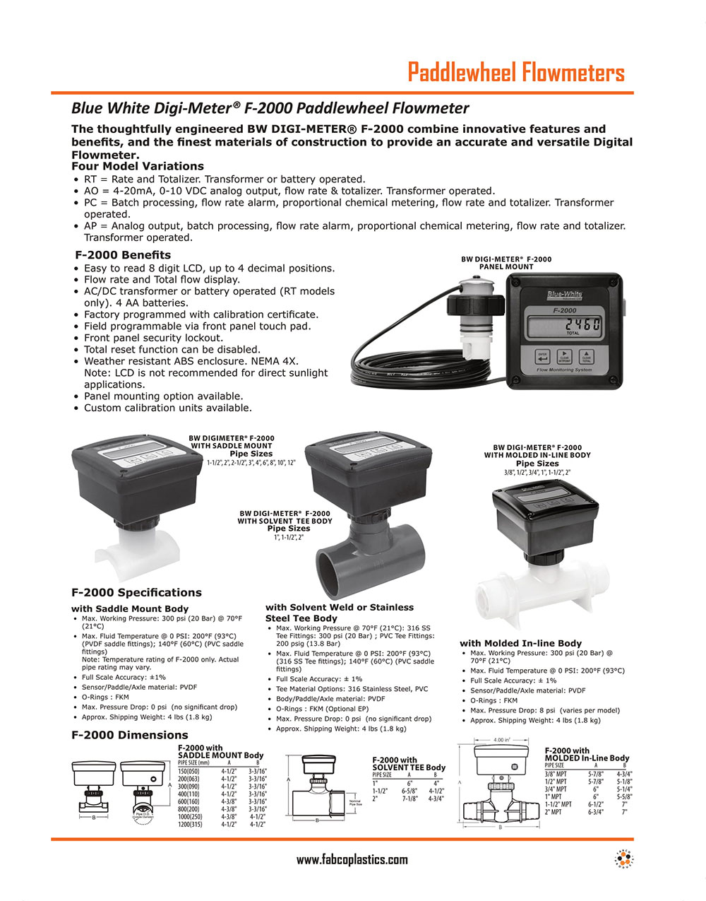 Paddle Wheel Flow Sensors and Meters